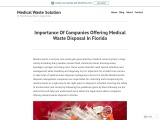 Importance Of Companies Offering Medical Waste Disposal In Florida