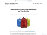 Proper Medical Waste Disposal Procedure and Their Benefits