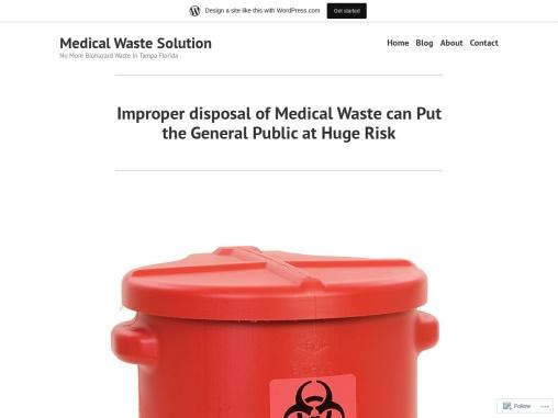 Improper disposal of Medical Waste can Put the General Public at Huge Risk