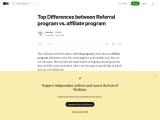 Top Differences between Referral program vs. affiliate program