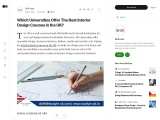 Which Universities Offer The Best Interior Design Courses in The UK