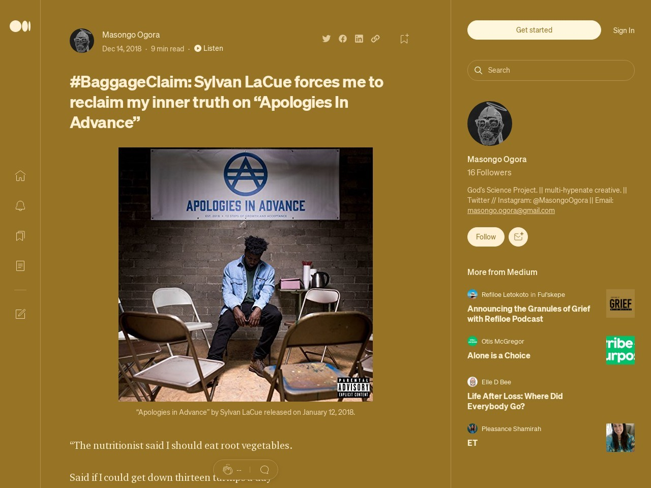 #BaggageClaim: Sylvan LaCue forces me to reclaim my inner truth on…