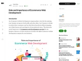 Role and Importance of Ecommerce Web Development