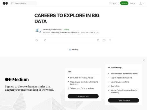 CAREERS TO EXPLORE IN BIG DATA