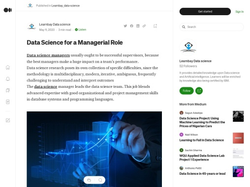 Data Science for a Managerial Role