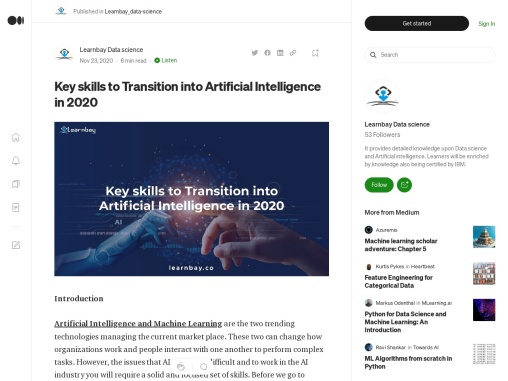 Key skills to Transition into Artificial Intelligence in 2020