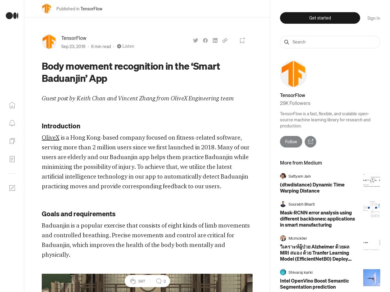 Body movement recognition in the 'Smart Baduanjin' App