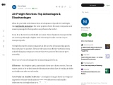 Air Freight Services -Top Advantages & Disadvantages