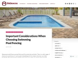 Important Considerations When Choosing Swimming Pool Fencing