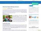 Reaction Paper Writing Services