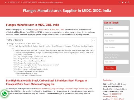 Carbon Steel, Mild Steel Flanges Manufacturer- Metalica Forging INC
