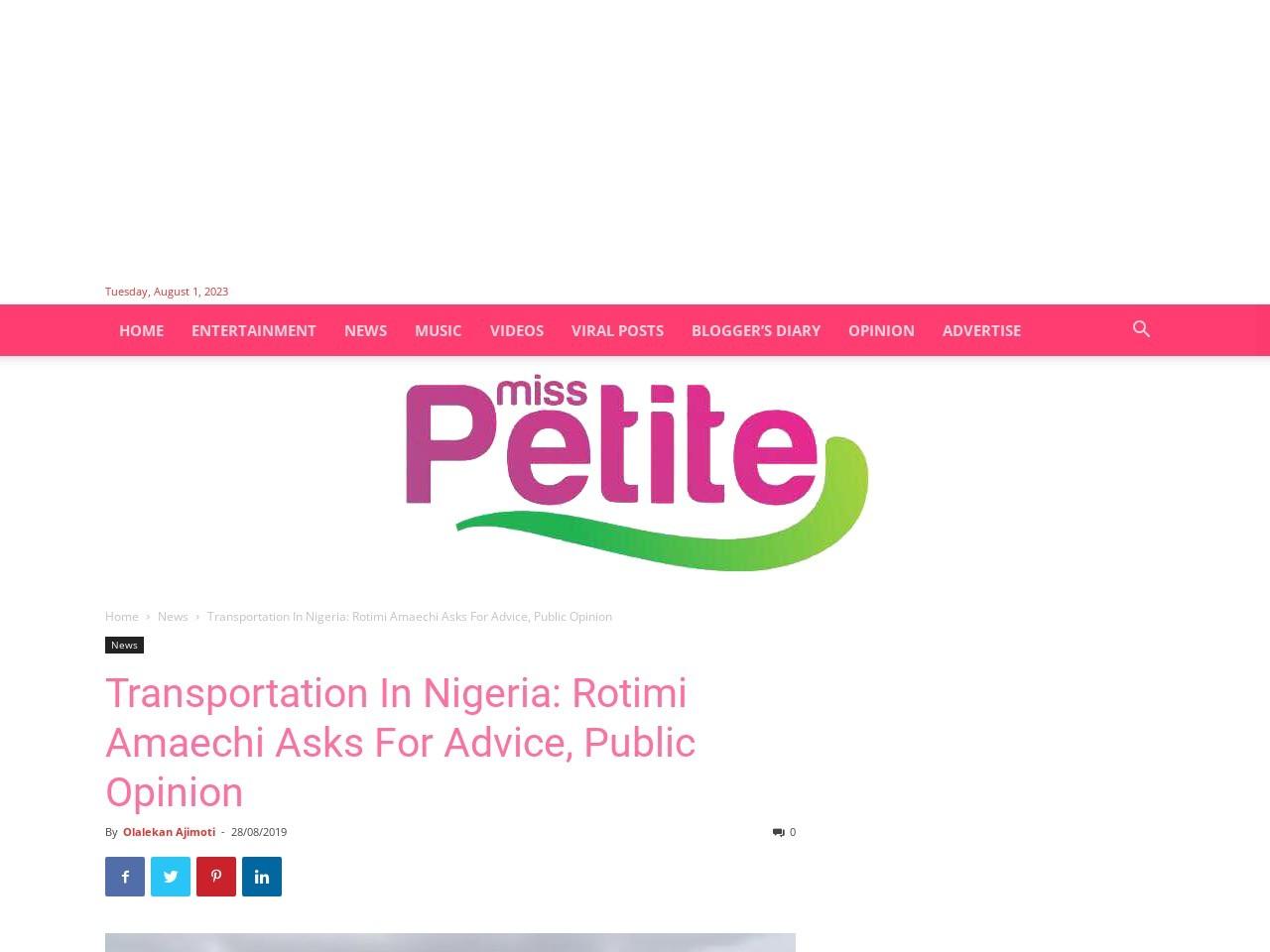 Transportation In Nigeria: Rotimi Amaechi Asks For Advice, Public Opinion