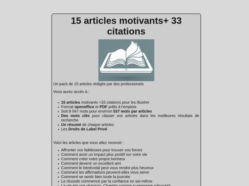 15 articles motivants +33 citations