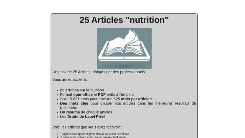 25 articles nutrition
