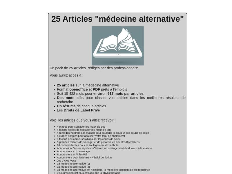 25 articles medecine alternative