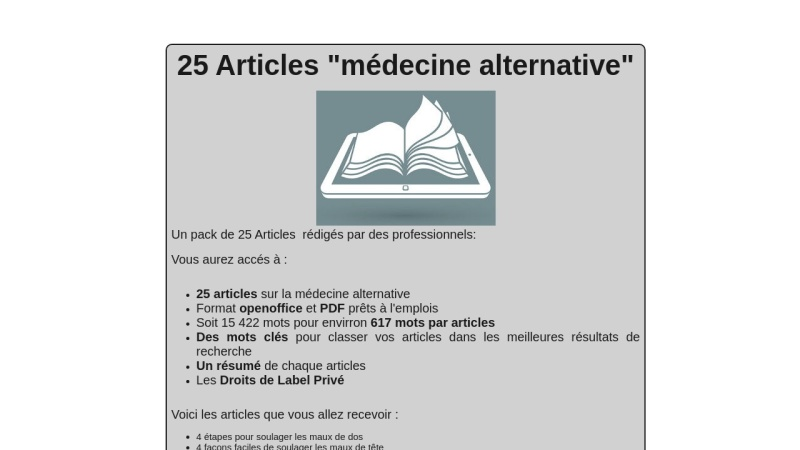 25 articles medecine alternative