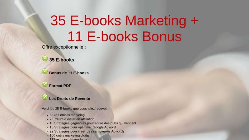 35 e-books marketing + 11 e-books bonus