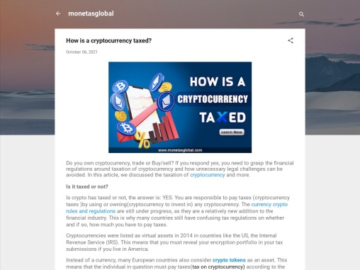 How is a cryptocurrency taxed?
