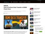 How to Perform Data Transfer in BGMI: Check Here
