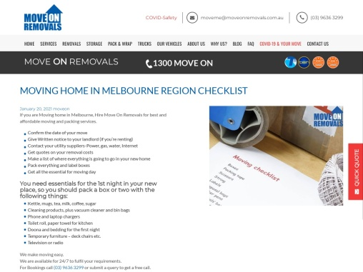 MOVING HOME IN MELBOURNE REGION CHECKLIST