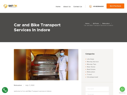 PACKERS AND MOVERS INDORE | satvik packers and movers