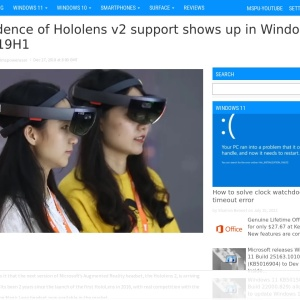 Evidence of Hololens v2 support shows up in Windows 10 19H1 - MSPoweruser
