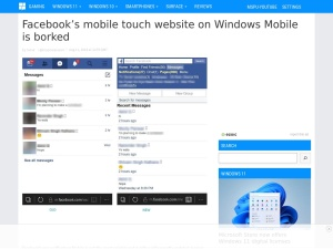 Facebook's mobile touch website on Windows Mobile is borked - MSPoweruser