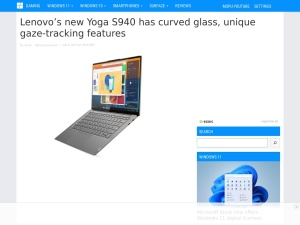 Lenovo's new Yoga S940 has curved glass, unique gaze-tracking features - MSPoweruser