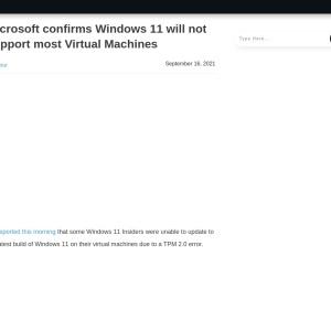 Microsoft confirms Windows 11 will not support most Virtual Machines - MSPoweruser