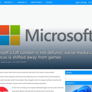 Microsoft's Lift London is not defunct; social media closed as focus is shifted away from games - MSPoweruser