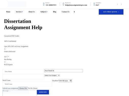 Get Dissertation Assignment Help For Top Quality Assignment