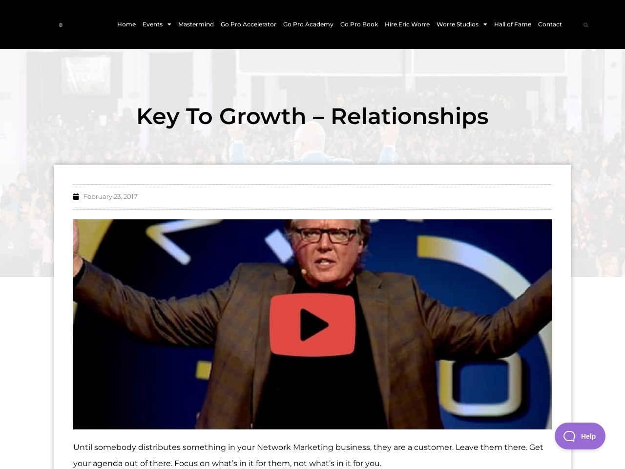Key To Growth – Relationships
