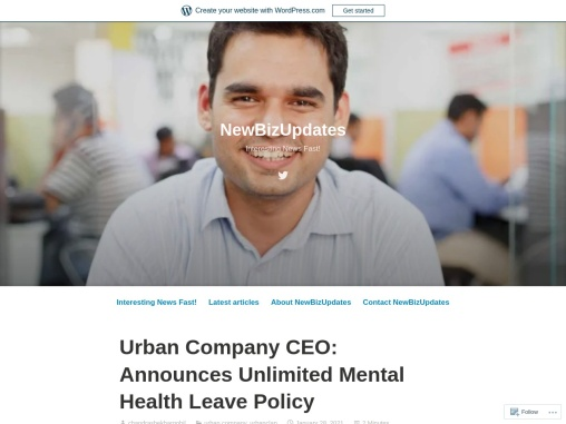 Urban Company CEO: Announces Unlimited Mental Health Leave Policy