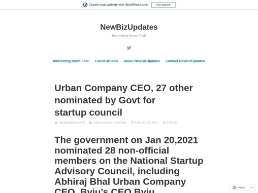 Urban Company CEO, 27 other nominated by Govt for startup council