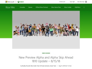 New Preview Alpha and Alpha Skip Ahead 1810 Update – 8/15/18 - Xbox Wire