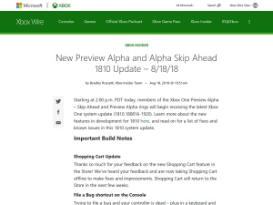 New Preview Alpha and Alpha Skip Ahead 1810 Update – 8/18/18 - Xbox Wire
