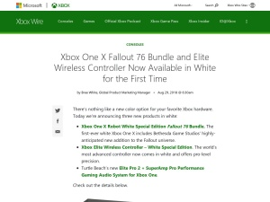 Xbox One X Fallout 76 Bundle and Elite Wireless Controller Now Available in White for the First Time - Xbox Wire