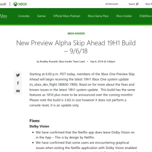 New Preview Alpha Skip Ahead 19H1 Build – 9/6/18 - Xbox Wire