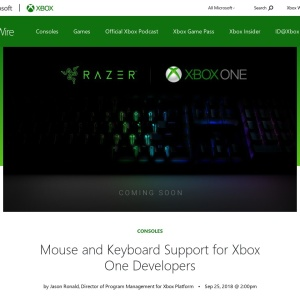 Mouse and Keyboard Support for Xbox One Developers - Xbox Wire