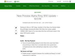 New Preview Alpha Ring 1810 Update – 10/1/18 - Xbox Wire