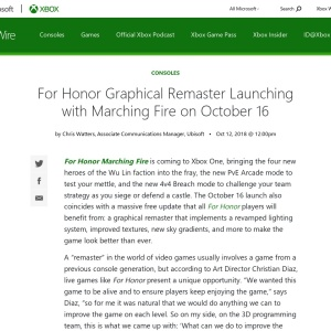 For Honor Graphical Remaster Launching with Marching Fire on October 16 - Xbox Wire