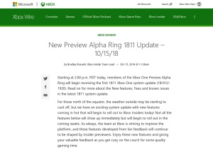 New Preview Alpha Ring 1811 Update – 10/15/18 - Xbox Wire