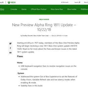 New Preview Alpha Ring 1811 Update – 10/22/18 - Xbox Wire