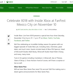 Celebrate X018 with Inside Xbox at FanFest: Mexico City on November 10 - Xbox Wire