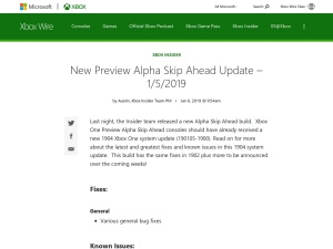 New Preview Alpha Skip Ahead Update – 1/5/2019 - Xbox Wire