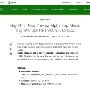 May 14th : New Preview Alpha Skip Ahead Ring 1910 Update (1910.190512-1922) - Xbox Wire