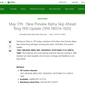 May 17th : New Preview Alpha Skip Ahead Ring 1910 Update (1910.190514-1920) - Xbox Wire