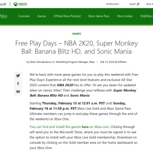Free Play Days – NBA 2K20, Super Monkey Ball: Banana Blitz HD, and Sonic Mania - Xbox Wire