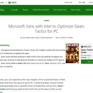 Microsoft Joins with Intel to Optimize Gears Tactics for PC - Xbox Wire