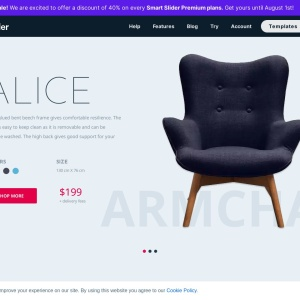 Interior — WooCommerce landing page with product carousel